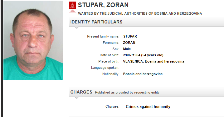 Interpol issues 'red notice' for Bosnian Serb ex-fighter Zoran Stupar